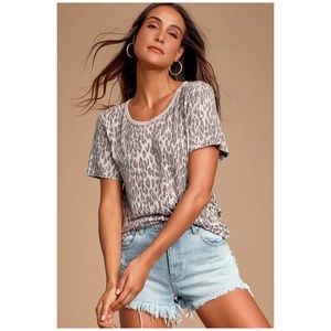 Free People Pink-Gray Tourist Leaped Print Tee
